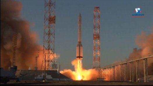 Momento del lanzamiento del módulo Nauka hacia la ISS.