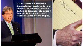 Colombia dice no tener información sobre anotación de tropas de John Bolton