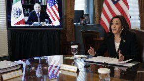 La vicepresidenta de Estados Unidos, Kamala Harris, y el mandatario mexicano, Andrés Manuel López Obrador.