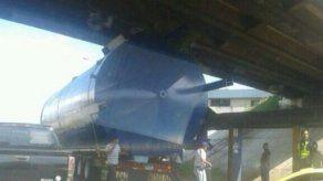 Mula queda atascada al tratar de pasar debajo de un puente en Arraiján