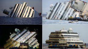 Enderezamiento del crucero Costa Concordia en isla italiana del Giglio