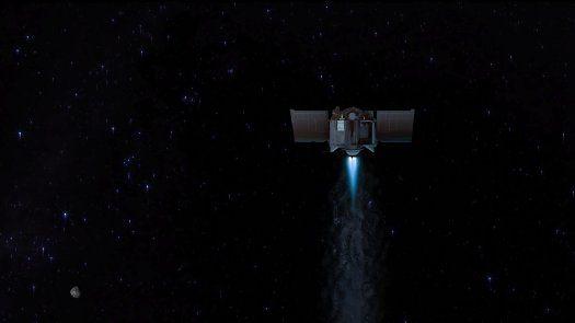 La ilustración muestra la nave espacial OSIRIS-REx partiendo del asteroide Bennu para comenzar su viaje de dos años de regreso a la Tierra.