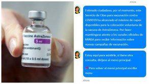 El sistema digital informó que los cupos estaban agotados para la colocación de la vacuna de AstraZeneca.
