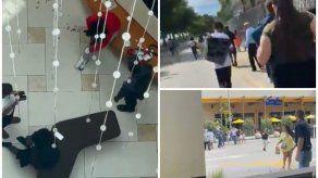 Al escuchar los tiros, cientos de personas que se encontraban en el Aventura Mall corrieron para ponerse a salvo.