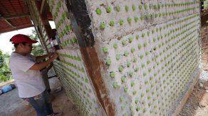 Diez mil botellas de plástico para levantar una casa comunal en Panamá