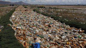 Parte de un lago en Bolivia esta cubierto con basura