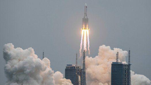 El cohete (un Long March 5B), que fue utilizado la pasada semana por China para lanzar al espacio uno de los módulos de su futura estación espacial.