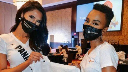 Carmen Jaramillo demuestra su compañerismo en primer día de ensayos y posa junto a la actual Miss Universo