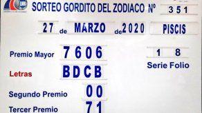 Billete del Gordito del Zodíaco Millonario, N° 7606, sorteo que jugó el pasado 30 de abril correspondiente al 27 de marzo de 2021, dijo la LBN.