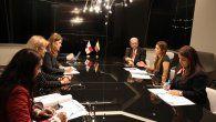 Las ministras de Relaciones Exteriores de Panamá y Colombia, Erika Mouynes y Marta Lucía Ramírez durante un encuentro en México en la reunión de cancilleres de la Celac.
