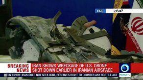 La TV iraní difunde imágenes de restos del dron estadounidense