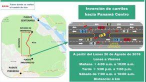 Ampliarán horario de inversión de carriles en vía Centenario
