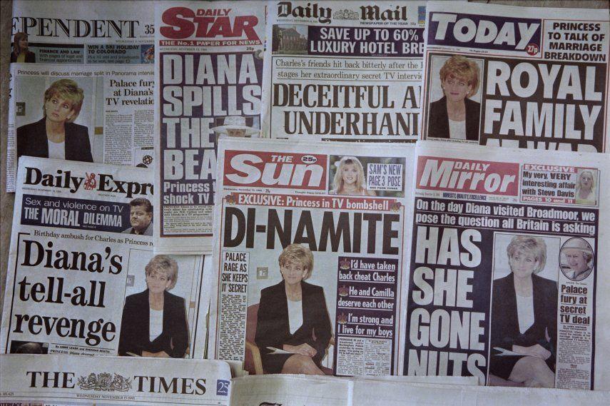 Las portadas de los periódicos del Reino Unido tras una entrevista televisiva con el periodista de la BBC Martin Bashir. La BBC estuvo bajo presión el 21 de mayo de 2021 después de críticas sin precedentes de la familia real sobre su entrevista de 1995 con la princesa Diana