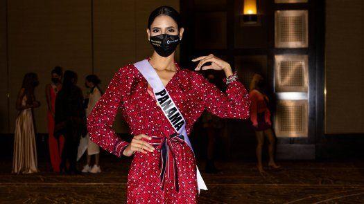Carmen Jaramillo, Señorita Panamá, durante los ensayos de Miss Universo 2020.